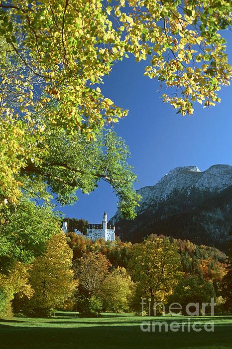 Neuschwanstein Castle Bavaria In Autumn Print by Rudi Prott