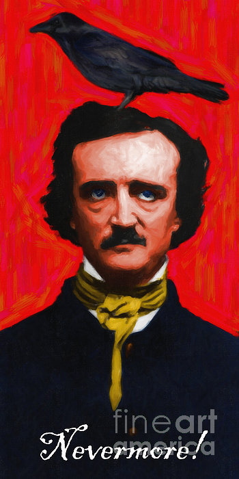 Nevermore - Edgar Allan Poe - Painterly Print by Wingsdomain Art and Photography
