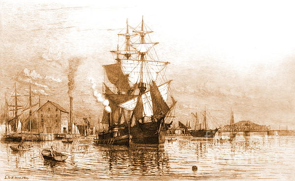 New Bedford Harbor 1903 Print by Padre Art