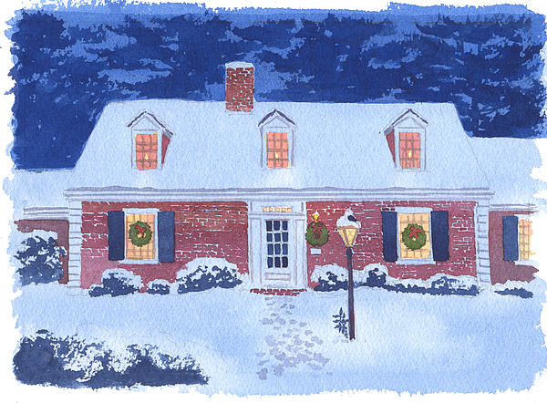 New England Christmas Print by Mary Helmreich