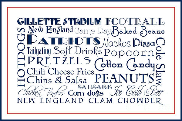 New England Patriots Game Day Food 3 Print by Andee Design
