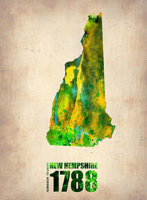 New Hampshire Watercolor Map Print by Naxart Studio