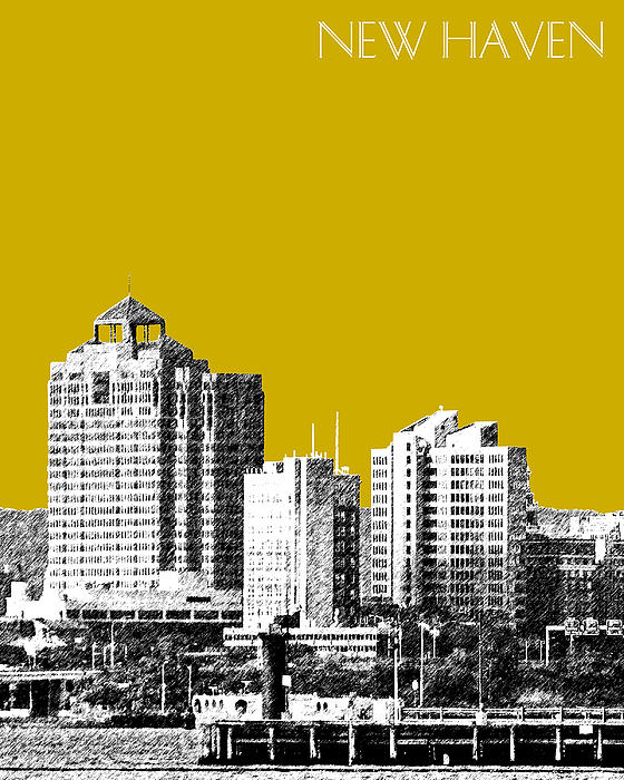New Haven Skyline - Gold Print by DB Artist