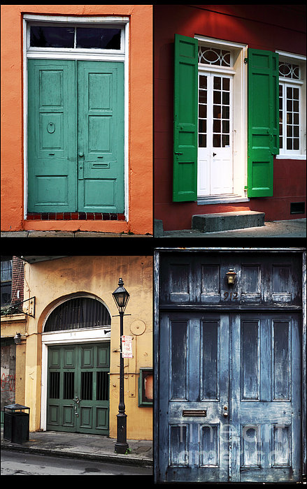 New Orleans Doors Collage Print by John Rizzuto