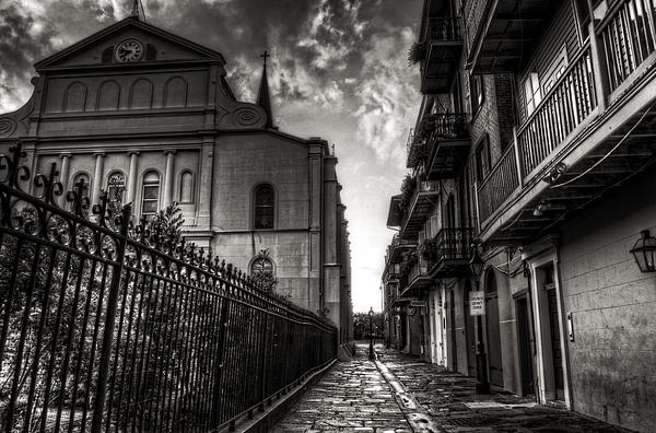 New Orleans' Pirates Alley In Black And White Print by Greg and Chrystal Mimbs