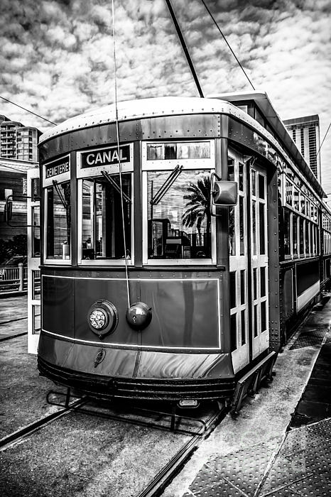 New Orleans Streetcar Black And White Picture Print by Paul Velgos