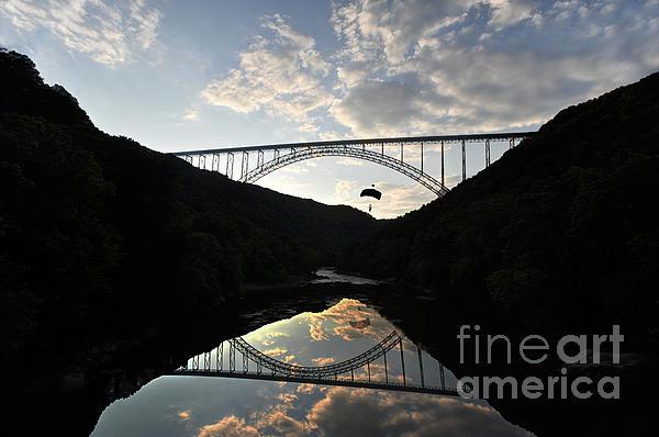 New River Bridge -  Base Jumper Print by Dan Friend