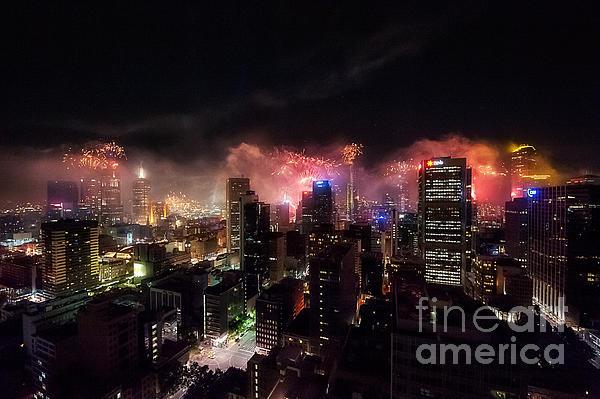 New Year Fireworks II Print by Ray Warren