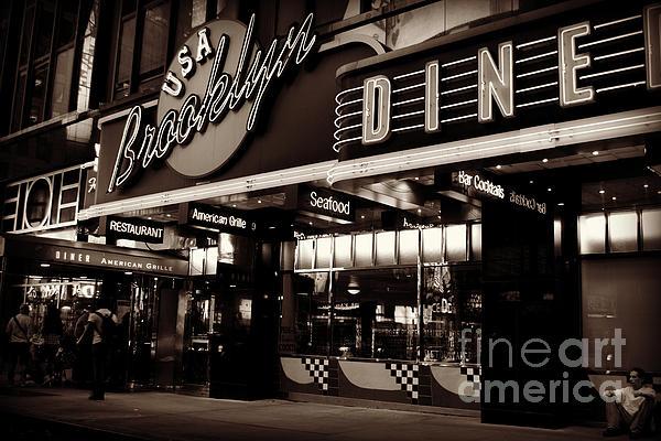 New York At Night - Brooklyn Diner - Sepia Print by Miriam Danar