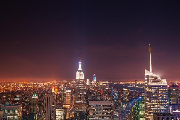 New York City Lights At Night Print by Vivienne Gucwa