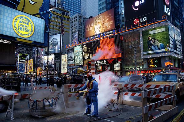 New York City Nighttime  Street Repair  Print by John Franco