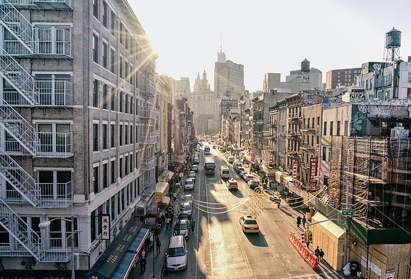 New York City - Sunset Above Chinatown Print by Vivienne Gucwa