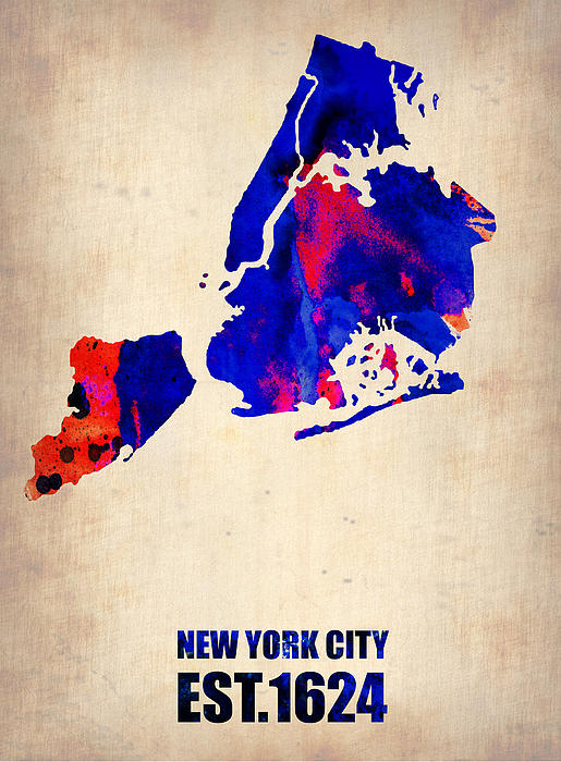 New York City Watercolor Map 1 Print by Naxart Studio