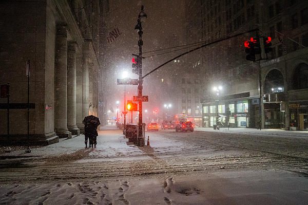 New York City Winter - Romance In The Snow Print by Vivienne Gucwa