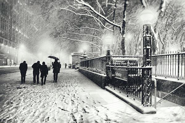 New York City - Winter - Snow At Night Print by Vivienne Gucwa