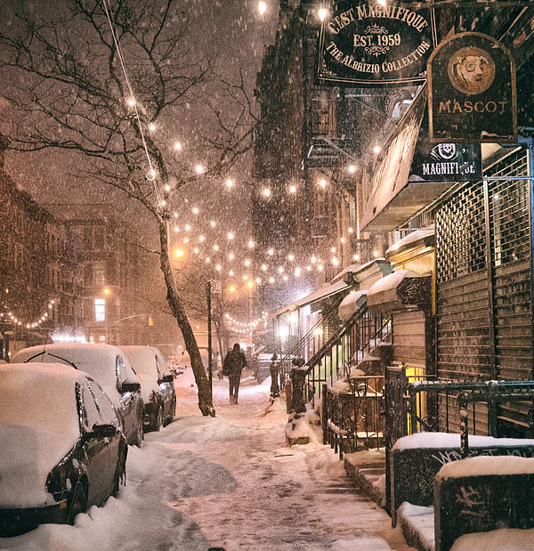 New York City - Winter Snow Scene - East Village Print by Vivienne Gucwa