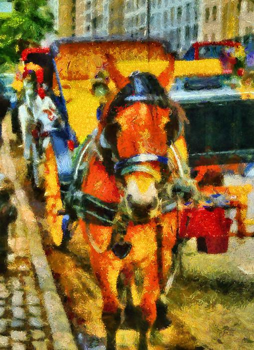 New York Horse And Carriage Print by Dan Sproul