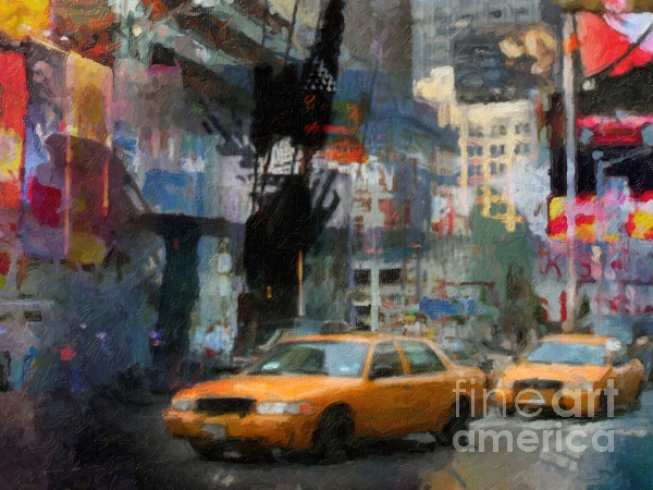 New York Lights Print by Lutz Baar