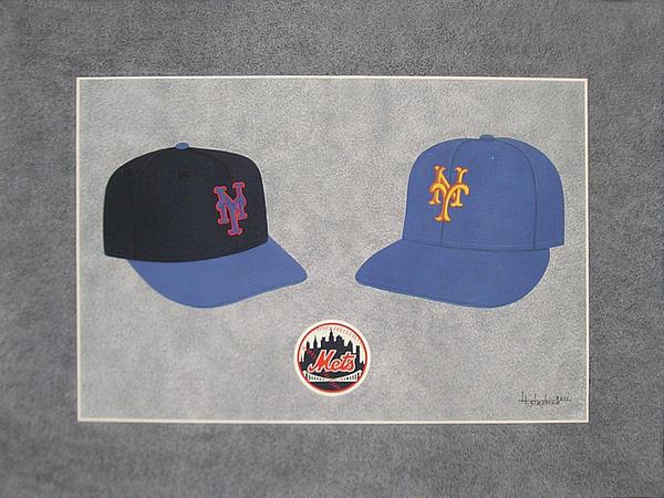 New York Mets Caps Print by Herb Strobino
