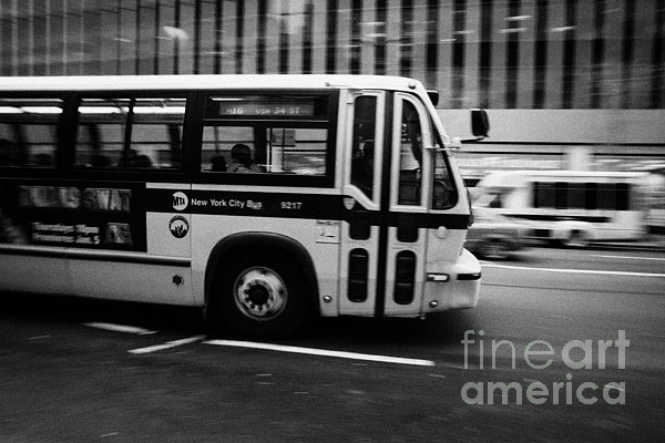 New York Mta City Bus Speeding Along 34th Street Usa Print by Joe Fox