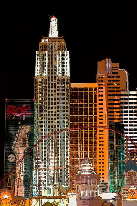 New York-new York Hotel Las Vegas - Pop Art Style Print by Ian Monk