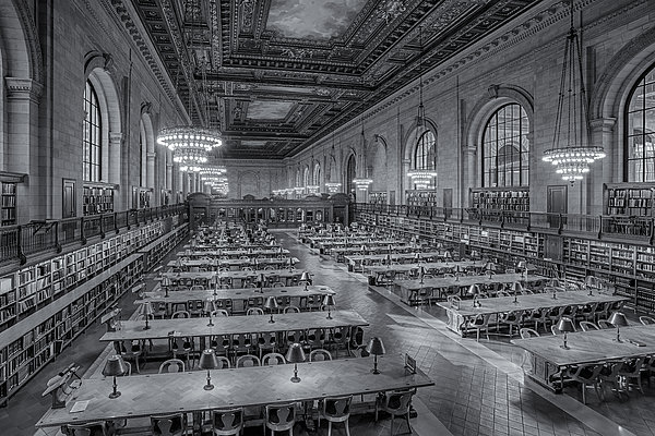 New York Public Library Rose Room Bw Print by Susan Candelario