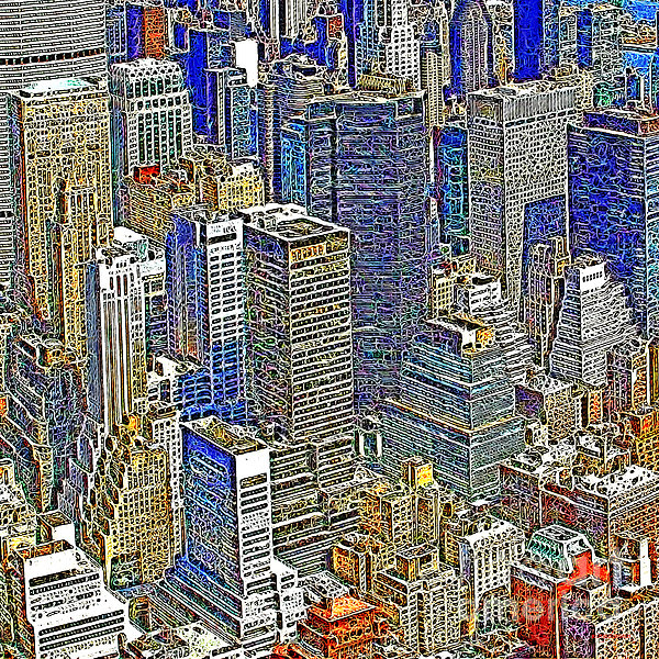 New York Skyline 20130430v5-square Print by Wingsdomain Art and Photography