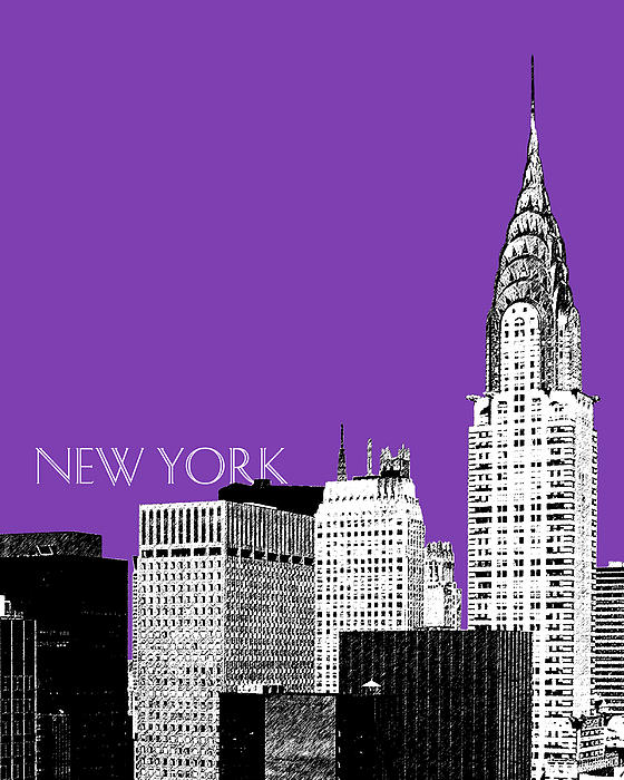 New York Skyline Chrysler Building - Purple Print by DB Artist