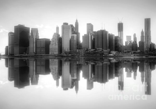 New York Skyline Sunset Bw Print by Yhun Suarez