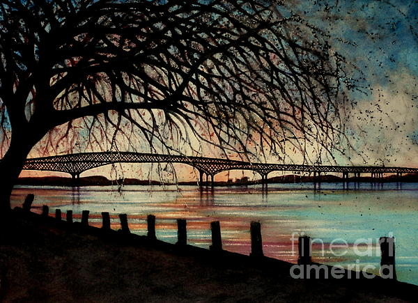 Newburgh Beacon Bridge Sunset Print by Janine Riley