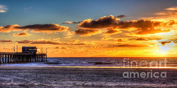 Newport Beach Pier - Sunset Print by Jim Carrell
