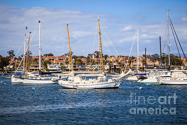 Newport Harbor Boats In Orange County California Print by Paul Velgos