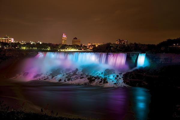 Niagara Falls At Night Print by Mike Feraco