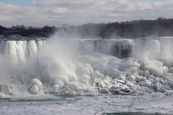 Niagara Falls Awesome Ice Buildup - American Falls New York State Usa Print by Georgia Mizuleva