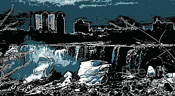 Niagara Falls Frozen At Night Print by Miss Dawn