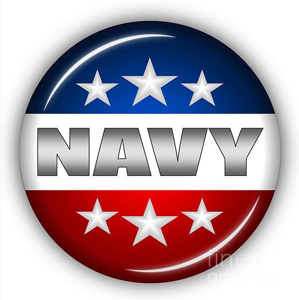 Nice Navy Shield Print by Pamela Johnson
