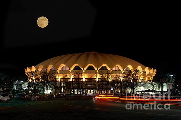 night and moon WVU basketball arena Print by Dan Friend