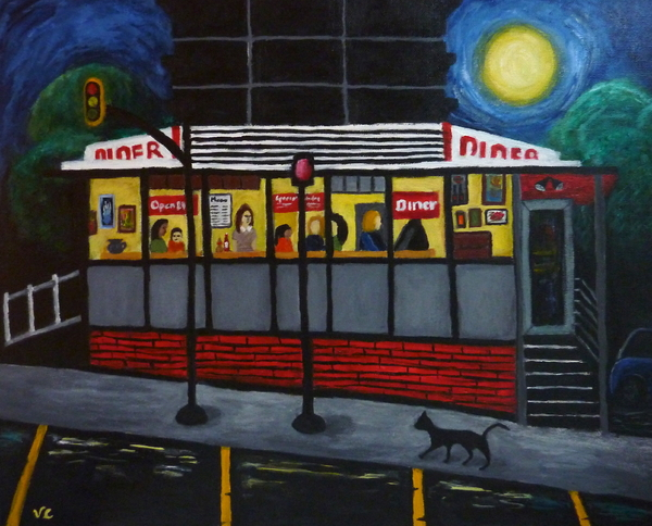Night At An Arlington Diner Print by Victoria Lakes