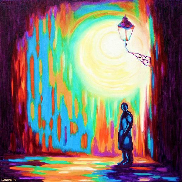 Night Light Street Print by Casoni Ibolya