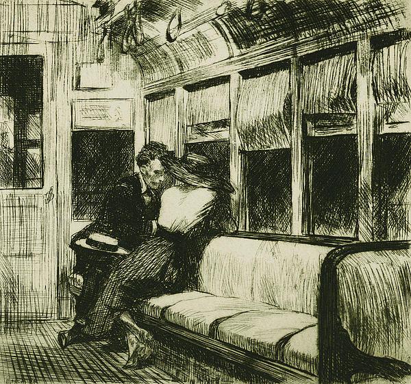 Night On The El Train Print by Edward Hopper