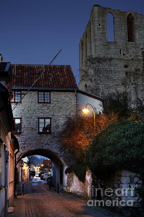 Night Scene In Medieval Town Print by Ladi  Kirn