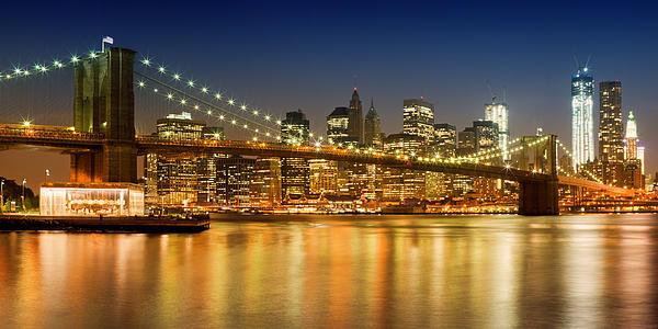 Night-skyline New York City Print by Melanie Viola