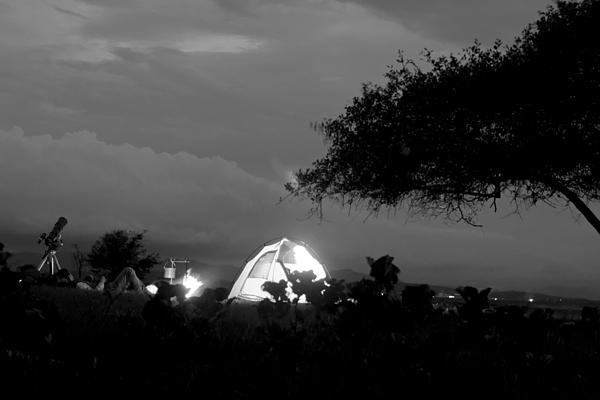 Night Time Camp Site Print by Kantilal Patel
