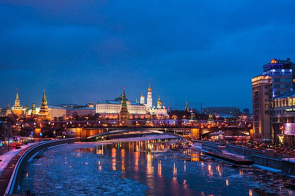 Night View Of Moscow Kremlin In Wintertime - Featured 3 Print by Alexander Senin