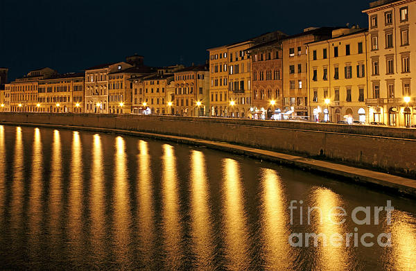 Night View Of River Arno Bank In Pisa Print by Kiril Stanchev