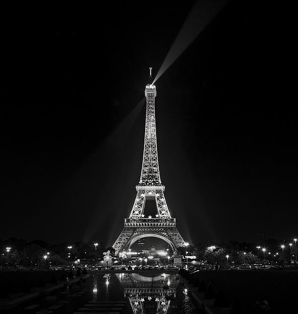 Night View Over The Eiffel Tower Print by Antonio Jorge Nunes