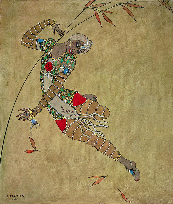 Nijinsky In 'le Festin/ L'oiseau D'or' Print by Georges Barbier