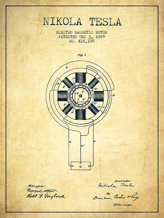 Nikola tesla patent drawing from 1889 vintage by aged pixel for Nikola motors stock price