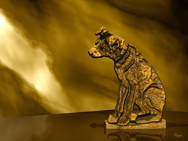 Nipper In Bronze Print by John Pangia