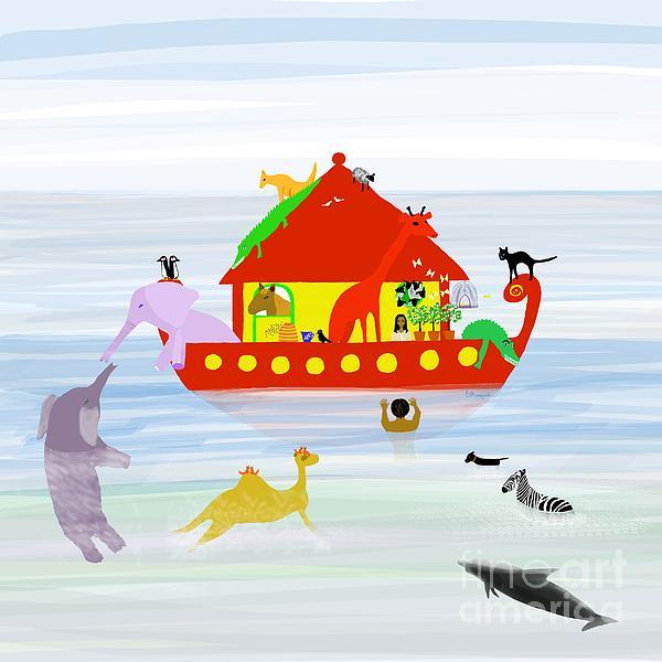 Noah's Ark Print by Barbara Moignard